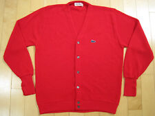 ORIGINAL!! 70s vtg IZOD LACOSTE red CARDIGAN button up SWEATER shirt LARGE