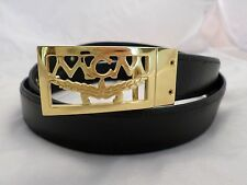 MCM authentic black leather canvas reversible logo gold buckle belt 120
