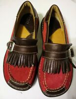 Born Womens 6.5 M Loafers Red Brown Suede Leather Moccasins Nice!