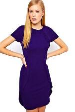 Karen Millen Purple Jersey Ruffle Dress UK 14 Day Evening DQ020 Party