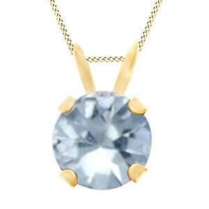 Round Cut Blue Aquamarine Solitaire Pendant Necklace 10K Yellow Solid Gold