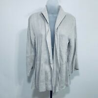 Eileen Fisher Cardigan Size M Open Front Italian Fabric Linen Cotton Ivory
