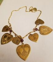 vintage Pididly Links brass hearts necklace