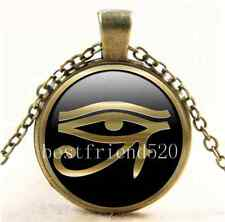 Vintage Gold Eye Of Ra Photo Cabochon Glass Bronze Chain Pendant Necklace