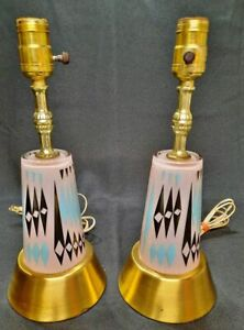 """Matching Set Vintage Mid Century Modern Art Deco Glass Table Lamps Pair Pink 14"""""""