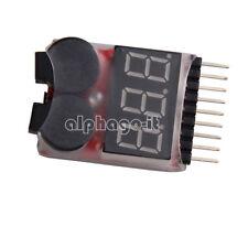 1-8S Lipo/Li-ion/Fe Battery Voltage 2IN1 Tester Low Voltage Buzzer Alarm New