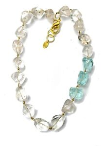 Clear Natural Quartz + Aqua Nuggets Handlinked Ice for your neck Gay Isber BOXED