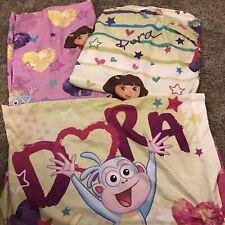 Dora The Explorer Fitted Sheet Flat Sheet And Pillowcase EUC