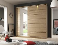 Brand New Modern Bedroom Sliding Mirror Wardrobe ARTI 15 Shetland Oak 220cm