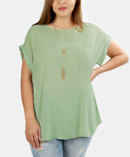 Ladies Blouse Size 22 Lightweight Green Short Sleeved Womens Top