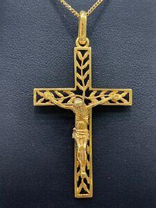 9ct 9k Yellow Gold Crucifix Cross Pendant With Jesus. 5 Grams. Brand New