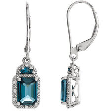 Genuine London Blue Topaz Gems & .06 ctw Diamonds 14K White Gold Dangle Earrings
