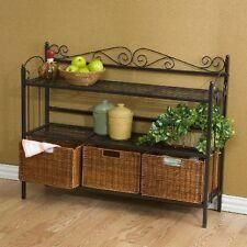 Storage Rack Shelf 3 Rattan Baskets Organizer Display Wrought Iron Home Decor