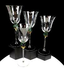 "CRATE & BARREL #CTB15 FLARED RIM GREEN BALL STEM GOLD 4PC 8 7/8"" WINE GLASSES"