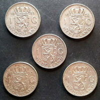 LOT 5 X 1 GULDEN 1955 1956 1957 1963 1965 PAYS BAS / NETHERLANDS Argent / Silver