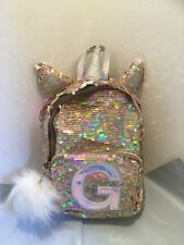 "Justice Girls Initial ""G� Mini Backpack Unicorn Reversible Flip Sequins Gold Nwt"