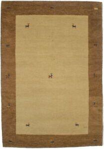 Modern Tribal Beige & Brown 5X7 Handmade Border Oriental Rug Decor Kids Carpet