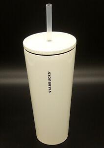 New 2020 Starbucks China Glossy White Stainless Steel Tumbler w/ Straw (473 ml)