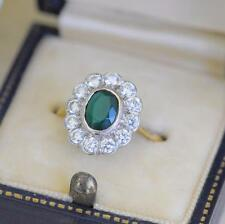 ART DECO 9CT GOLD GREEN CHALCEDONY PASTE CLUSTER RING