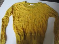 CAbi Ladies #477 Ochre Burn Out Tee Knit Top Yellow Long Sleeve Size Small