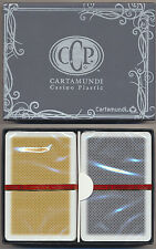 Cartamundi 100% Plastic Playing Cards 2 Black & Gold Bridge Size Jumbo Index *