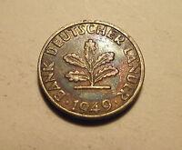 #516 Germany; 5 Pfennig 1949G w/ toning AU
