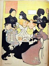 CARICATURE Salon de thé HOMME FEMME SERVEUR J. VILLEMOT chromo typographie 1899