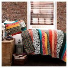 Boho Stripe 3 Piece Set Quilt (King) Turquoise/Tangerine - Lush Décor