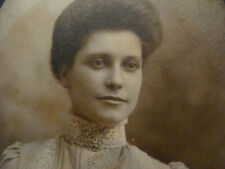 vintage cabinet card: lady, mounted oval photo