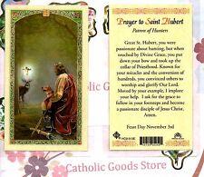 St. Saint Hubert with Prayer to St. Hubert -Laminated Holy Card