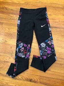 Nike Girls' Floral Trophy Tights BV2814 Black - Large