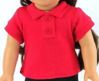 """Red Polo T Shirt for American Girl or Boy 18"""" or Baby 15"""" Doll Clothes LOVVBUGG!"""