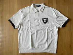 Vintage Ralph Lauren Polo Short Sleeve 1/4 Zip Rayon Blend Shirt Crest Patch XL