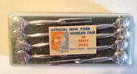 Official 1964-65 New York World's Fair 16 Plastic Party Picks (Unisphere)