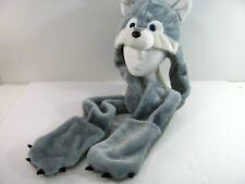 Animal Fur Head Long Trapper Hat Hood Scarf Snood & mitts Wolf / Dog