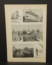 Harper's Weekly 1Pg The sault Ste Marie Canal  c1890s B8#28
