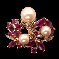 Marquise Red Ruby Mother Of Pearl 14K Rose Gold Plate 925 Sterling Silver Ring