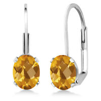 1.40 Ct Oval Checkerboard Citrine 925 Sterling Silver Leverback earrings