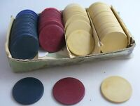 VINTAGE 65 CLAY POKER CHIPS RED/WHITE/BLUE + 6 CARDBOARD HORSESHOE CHIPS