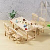 1 Dining Table and 4 Wood Chairs Can Be Painted For 1:12 Furnitur Dollhouse J6T7
