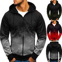 Mens Zip Up Hoodie Jacket Sweatshirt Hooded Pocket Gradient Coat Tops Sport Wear