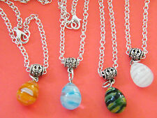 """4 Pieces Tear Drop Necklaces Lamp work Glass MILLEFIORI 25"""" Chains Lot of 4 NEW!"""