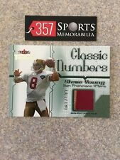 2002FLEER THROWBACKS CLASSIC NUMBERS STEVE YOUNG PATCH 2CLR SP #D /100 49ERS HOF