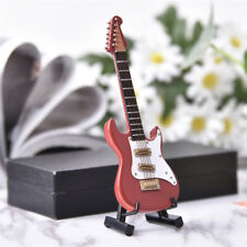 Mini Electric Guitar Miniature Wooden Musical Instruments Model + Stand + Box AB
