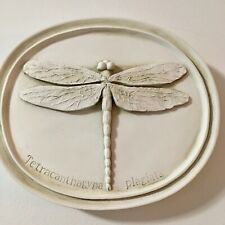 DRAGONFLY Oval Bug Plaque, Museum White, House Parts The Entomology Series Resin