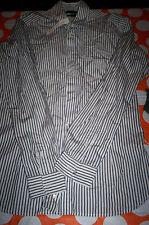 NWOT $198 DIESEL BLACK&GOLD SLIM FIT MENS DRESS SHIRT BLUE/WHITE STRIPE  EU 46