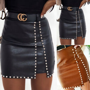 UK Women PU Leather Pencil Skirt Stretch High Waist Wet Look Mini Dress Bodycon