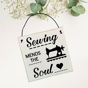 Sewing mends the Soul Sign/Plaque   Wall Hanger   15cm x 15cm   Sewing Gift