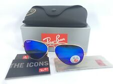 Ray Ban Aviator RB3025 112/4L 58/14 Matte Gold Polarized Blue Mirror Lens 58mm
