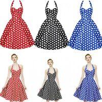Women Dot Swing 50s 60s Retro Housewife Pinup Rockabilly Party Evening Dress EC